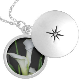 White Calla Lilies Silver Plated Necklace