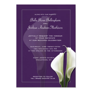 White Calla Lillies Wedding Invitation on Purple