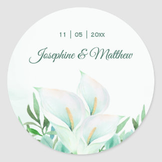 White Calla Lilly Floral Wedding Stickers
