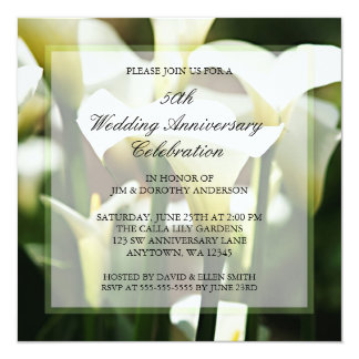 White Calla Lily 50th Wedding Anniversary Card