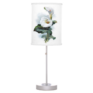 White calla lily flower table lamp
