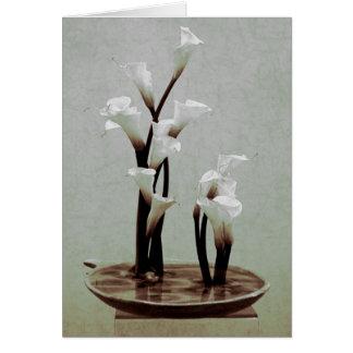 White Calla Lily Ikebana Greeting Card