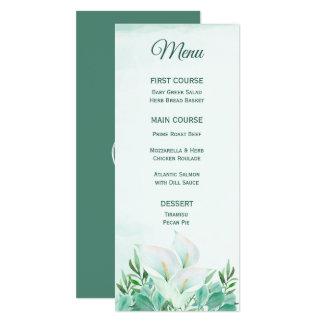 White Calla Lily Monogram Menus Card
