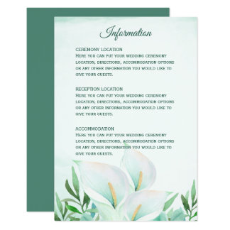 White Calla Lily Monogram Wedding Reception Cards