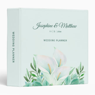 White Calla Lily Personalized Wedding Planner Binder