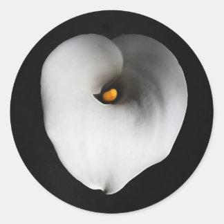 white calla lily round sticker