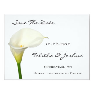 White Calla Lily Save The Date Cards