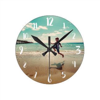 White Calligraphy Numbers Custom Photo Round Clock