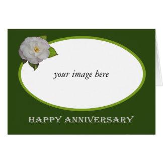 White Camellia custom frame, Happy Anniversary Card