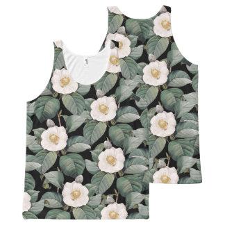 White Camellia om black pattern All-Over-Print Tank Top