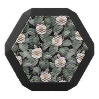 White Camellia om black pattern Black Bluetooth Speaker