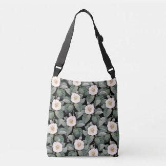 White Camellia om black pattern Crossbody Bag