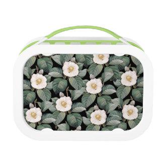 White Camellia om black pattern Lunch Box