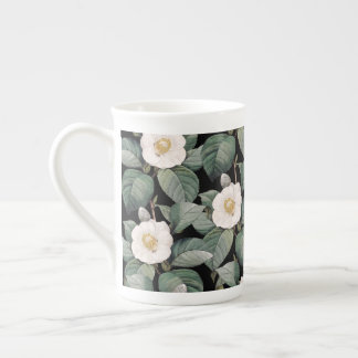 White Camellia om black pattern Tea Cup