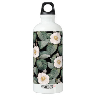 White Camellia om black pattern Water Bottle
