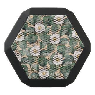 White Camellia on beige pattern Black Bluetooth Speaker
