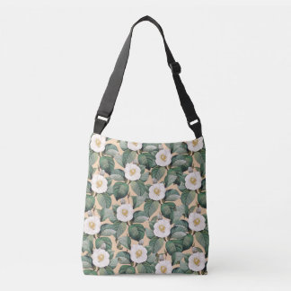 White Camellia on beige pattern Crossbody Bag