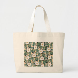White Camellia on beige pattern Large Tote Bag