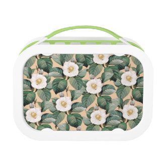 White Camellia on beige pattern Lunch Box