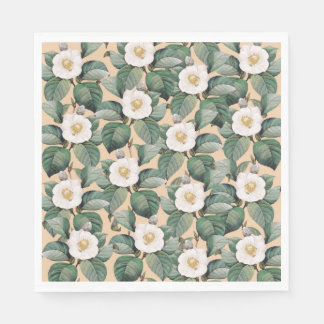 White Camellia on beige pattern Paper Napkin