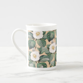 White Camellia on beige pattern Tea Cup
