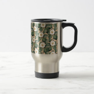 White Camellia on beige pattern Travel Mug