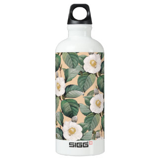 White Camellia on beige pattern Water Bottle