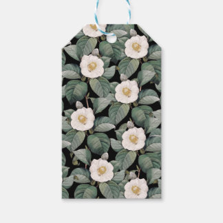 White Camellia on black pattern Gift Tags