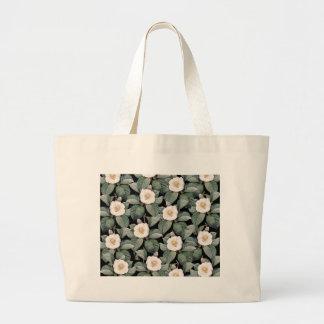 White Camellia on black pattern Large Tote Bag