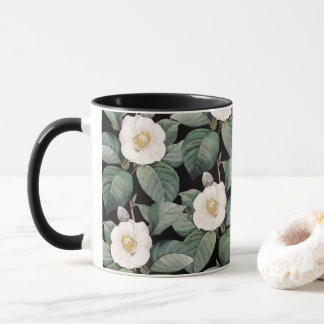 White Camellia on black pattern Mug