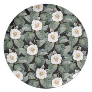White Camellia on black pattern Plate