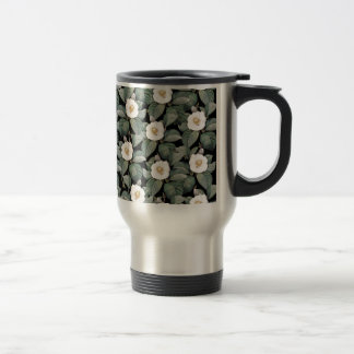 White Camellia on black pattern Travel Mug