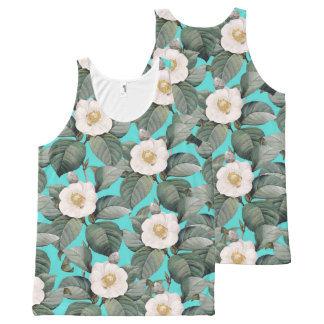White Camellia on Teal Pattern All-Over-Print Tank Top