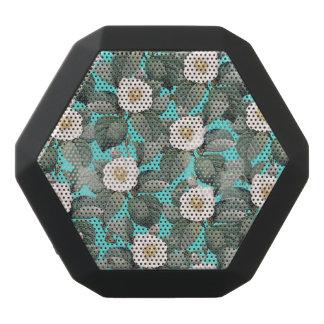 White Camellia on Teal Pattern Black Bluetooth Speaker