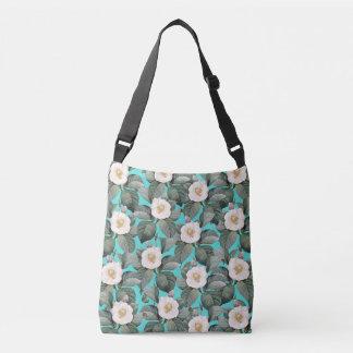White Camellia on Teal Pattern Crossbody Bag