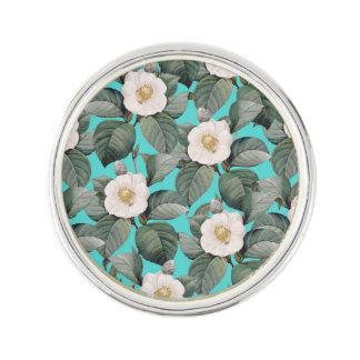 White Camellia on Teal Pattern Lapel Pin