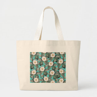 White Camellia on Teal Pattern Large Tote Bag