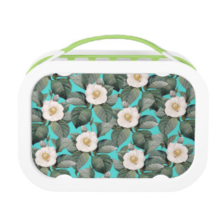 White Camellia on Teal Pattern Lunch Box