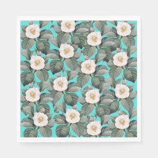 White Camellia on Teal Pattern Paper Napkin