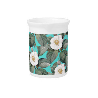 White Camellia on Teal Pattern Pitcher