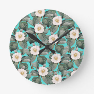White Camellia on Teal Pattern Round Clock