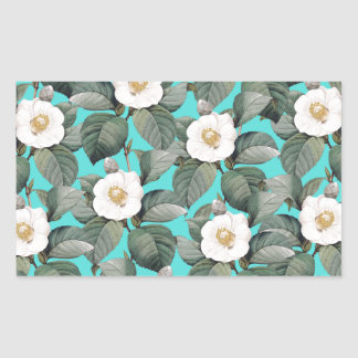 White Camellia on Teal Pattern Sticker
