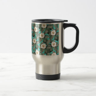 White Camellia on Teal Pattern Travel Mug