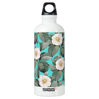 White Camellia on Teal Pattern Water Bottle