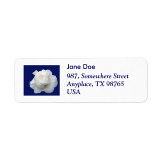White camellia return address label