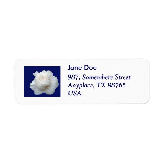 White camellia return address label