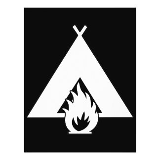 White Campfire and Tent Symbol for Dark Background Flyers
