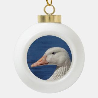 White Canadian Goose Ceramic Ball Christmas Ornament