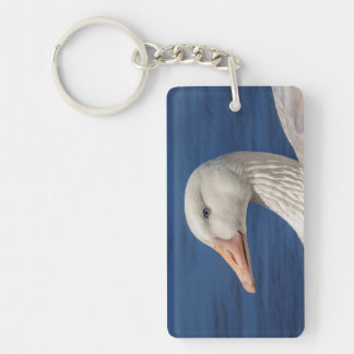 White Canadian Goose Keychain