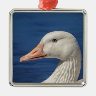 White Canadian Goose Metal Ornament